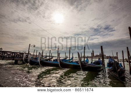 Row Of Gondolas In Venice