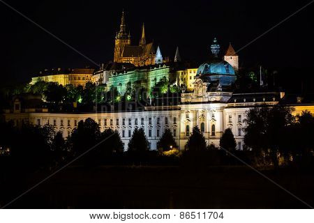 Illuminated Buildings Of Prague At Night