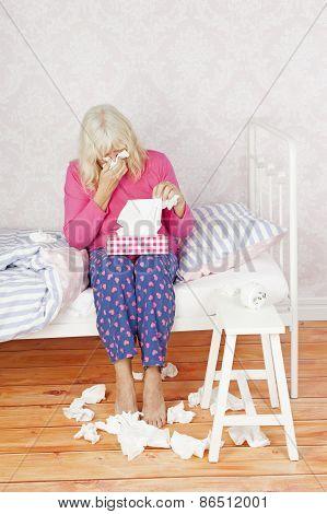 Depressed Woman Sitting Bed