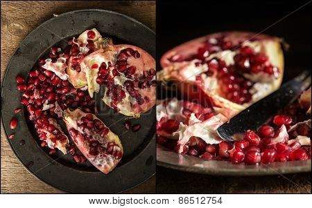 Compilation Of Pomegranate Images In Moody Natural Light Set Up With Vintage Retro Style