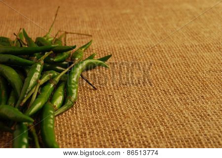 Green Finger Chillis on Hessian