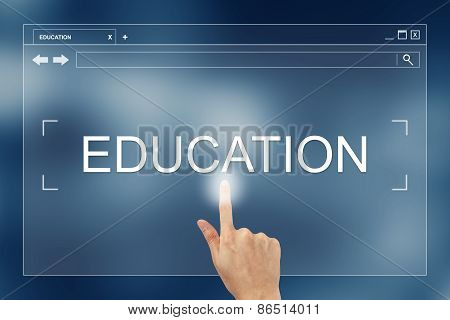 Hand Press On Education Button On Website