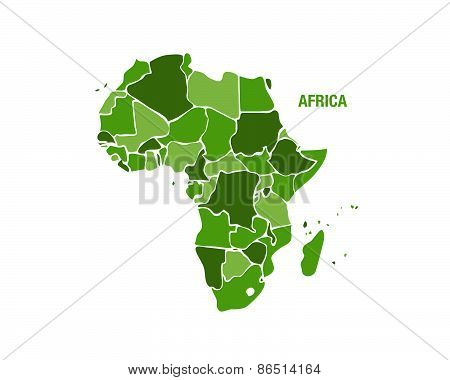 Africa Map In Green Color