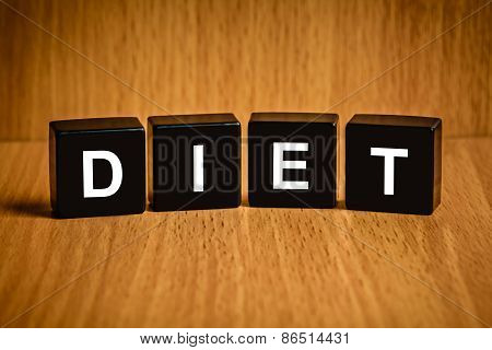 Diet Healthy Word On Black Block