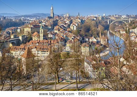 Panoramic view on the old town of Bern, Switzerland