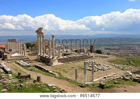 Ruins Of The Ancient Temple Of Trajan In Bergama Acropolis, Turkey