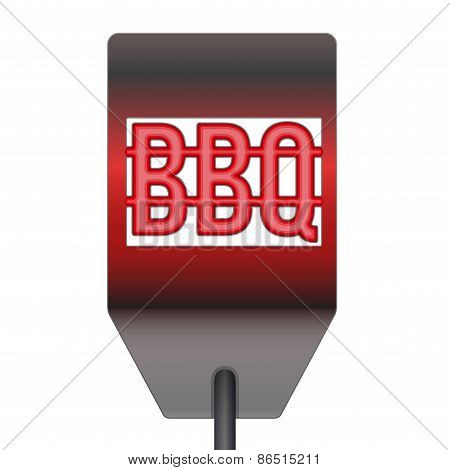 Barbecue hot metal spatula isolated on white background