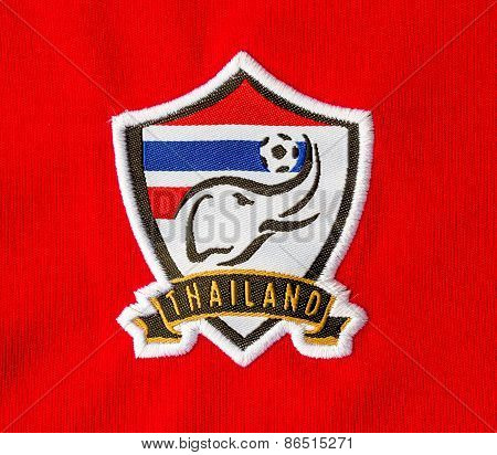 Bangkok, Thailand - March 28, 2015: The Logo Of Thailand Nation Football Team On An Official Jersey