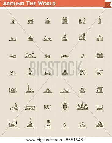 Set of the global landmarks and travel destinations