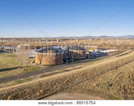 FORT COLLINS, CO, USA - MARCH 28, 2015: Aerial view of biotowers in Drake Water Reclamation Facility, one of city waste water treatment plants,