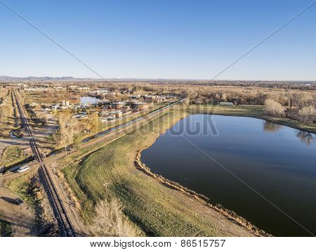 FORT COLLINS, CO, USA - MARCH 28, 2015: Aerial view of Drake Water Reclamation Facility, one of city waste water treatment plants,  and Environmental Learning Center