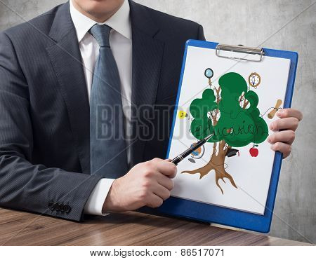 Clipboard With Education Tree