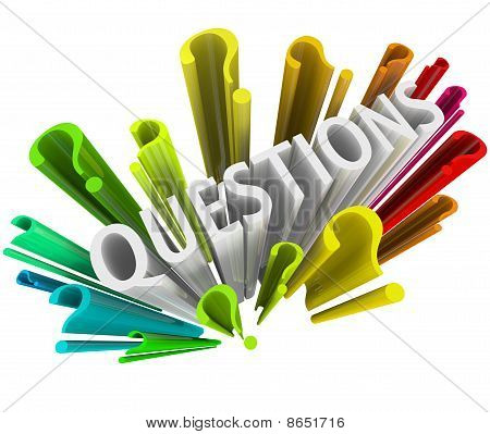 Signos de interrogación - coloridos símbolos 3D