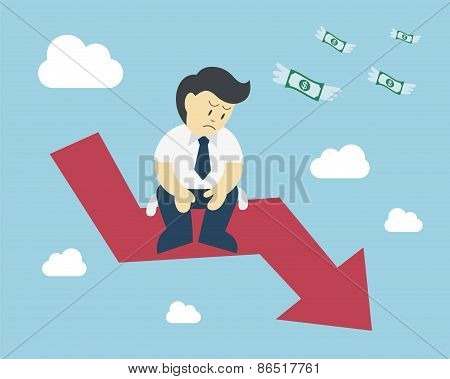 Businessman Sit On Arrow Stock Market Crash