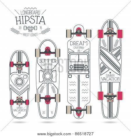 Trendy Print On A Longboard