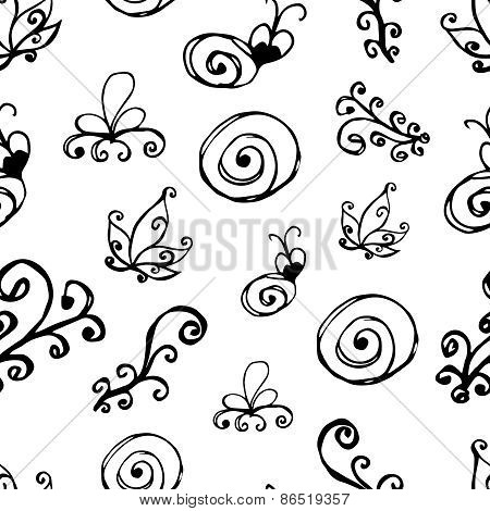 Black And White Floral Pattern.seamless Pattern