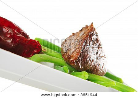 Fillet Mignon On A White Plate