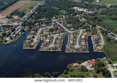 Luftbild des nordamerikanischen Vorstadt Nachbarschaften