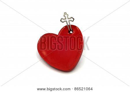 Red Heart with crucifix for Love God concept