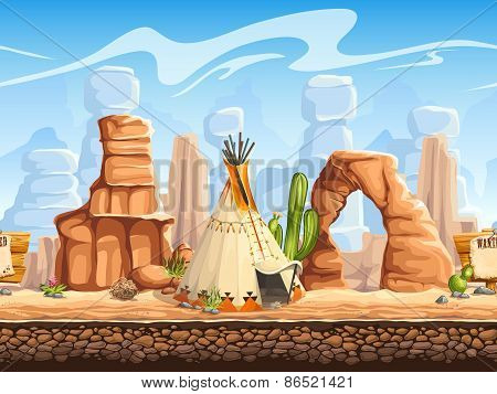 Tileable Horizontal Background Wild West. Set2