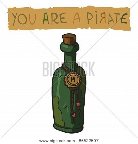 The vector illustration of bottle of rum.