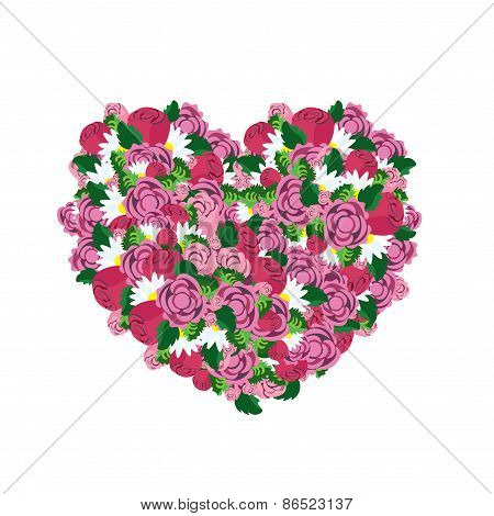 Heart made from colorful pink flowers love concept vector