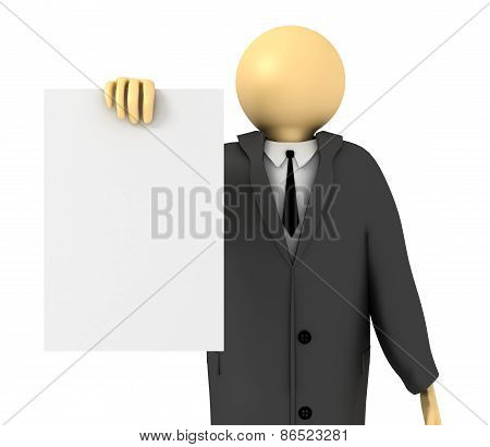 Businessman Showing Blank Paper