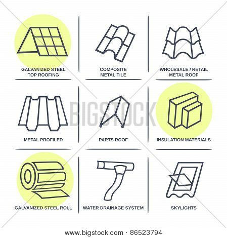 Sale Buildings Materials (roof, Facade) Site Icons Infographics Set