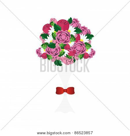 Bouquet of colorful flowers with red ribbon vector image