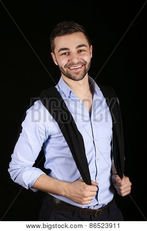 casual young fashion man model posing