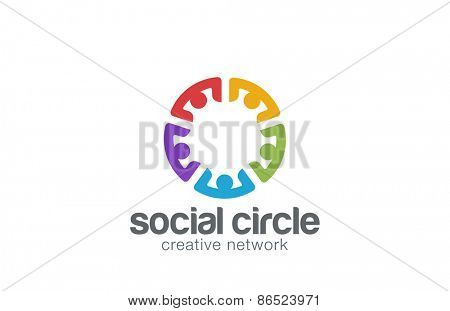 Team Social network Logo design template. Community Partnership Teamwork Logotype icon.