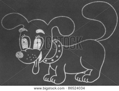 Little dog on chalkboard