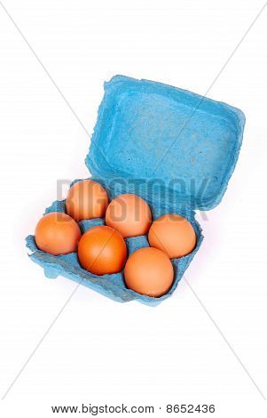 Blue box with eggs