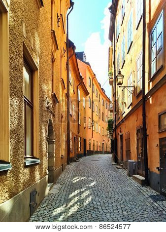 Sunny Street In The Old Center Of Stockholm