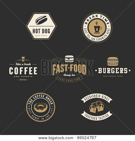 Fastfood Retro Vintage Labels as Logo design vector template set. Fast Food: Hot dog, Burger, Donut, Coffee, Beer Logotype icons.