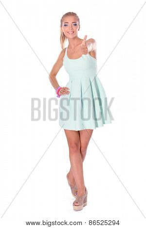 Attractive young woman full length portrait isolated on white background.