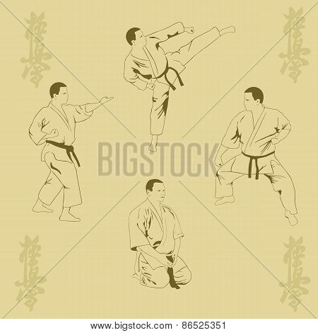 Four Men Show Karate.
