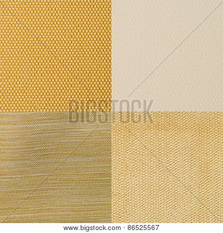 Set Of Yellow Fabric Samples