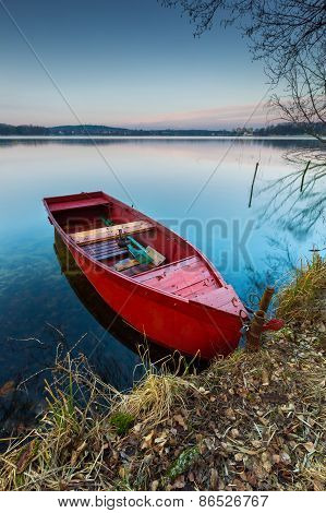 Lake Landscape With Boat