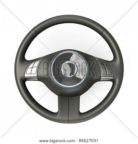 3D rendering of a sport car steering wheel