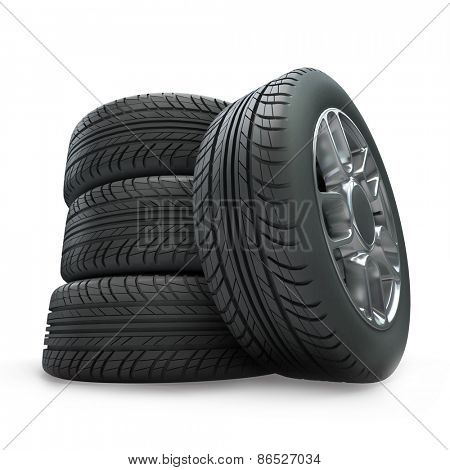 3D rendering of vehicle wheels on a white background