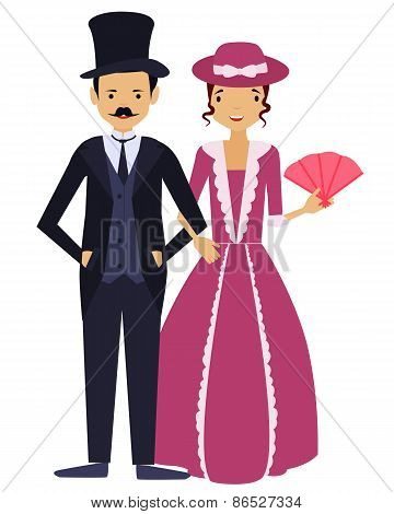 Ladies and gentlemen. Man and woman in vintage clothing. Vector illustration