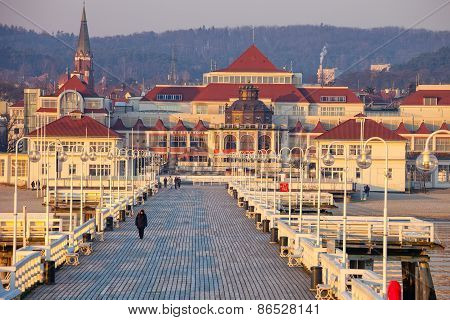 Pier In Sopot At Morning