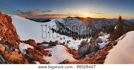 Slovakia Winter Mountain At Sunset - Velka Fatra