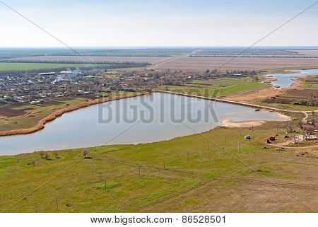 beautiful rural landscape in spring, view from above