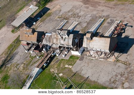 top view of the old grain elevator for processing