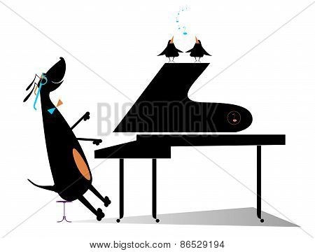 Dog a pianist