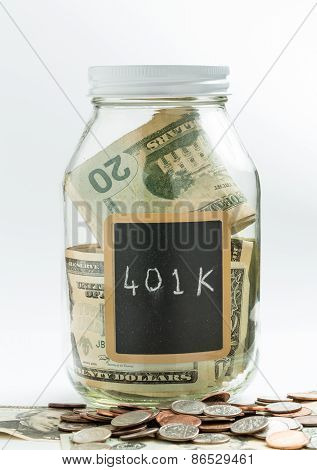 Glass Jar With Chalk Panel Used For 401K Retirement
