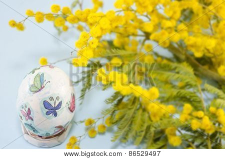 Hand Painted Easter Egg And Mimosa