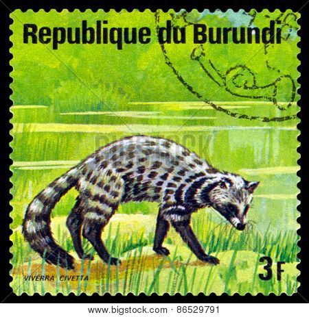 Vintage  Postage Stamp. Indian Civet. Animals Burundi.
